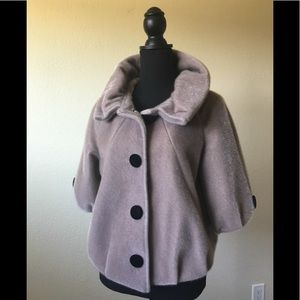 Other - Faux fur jacket NWT by Hyxin taupe w/ black buttom